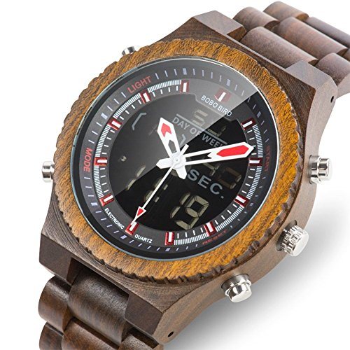 Wood Mens Watches LED Digital Dual Display Ebony Quartz Wooden Watches Army Military Business Sport Watch