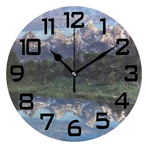 Wyoming Grand Teton National Park Round Acrylic Wall Clock, Silent Non Ticking Battery Decorative Home Kitchen Classroom Office School