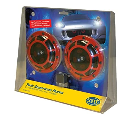 HELLA 922000731 Sharptone 12V High Tone 2 Horns Low Tone Twin Horn Kit with Yellow Protective Grill