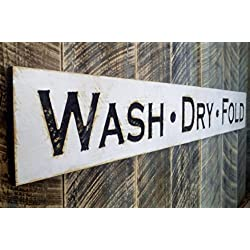 "WASH DRY FOLD Sign Horizontal 55""x 8""- Carved in a Cypress Board, Rustic Distressed Shop Advertisement Farmhouse Style Wooden Wood Gift Laundry Room"