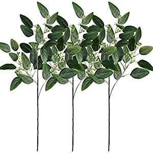 "Supla 3 Pcs Fake Seeded Eucalyptus Leaves Spray Faux Artificial Eucalyptus Stems Bulk in Green 25"" Tall for Eucalyptus Wreath Bouquet Floral Arrangement Centerpiece Holiday Greens Christmas Greenery 21"