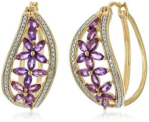 Gold Marquise Amethyst Earrings - 2