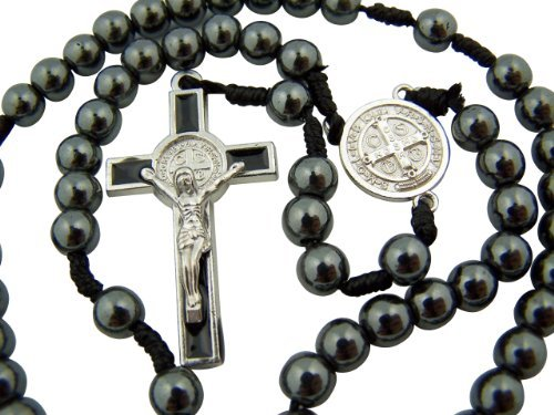 Silver Crucifix Hematite (Religious Gifts Hematite Bead Saint Benedict Medal Center Hand Held Cord Rosary, 12 Inch)