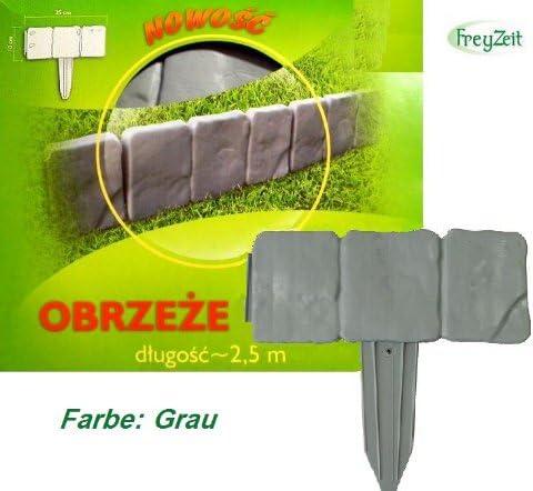 FreyZeit - Cerco delimitador para jardín/césped (2, 5 m), color gris: Amazon.es: Jardín