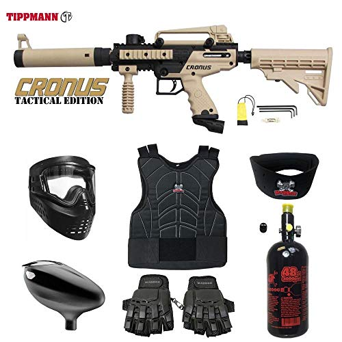 MAddog Tippmann Cronus Tactical Beginner Protective HPA Paintball Gun Package - Black/Tan