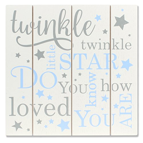 Lawrence Frames 9x9 Distressed White and Blue Wood Twinkle Panel Sign ()