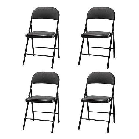 FENGFAN Juego de 4 sillas Plegables, Silla cómoda de ...