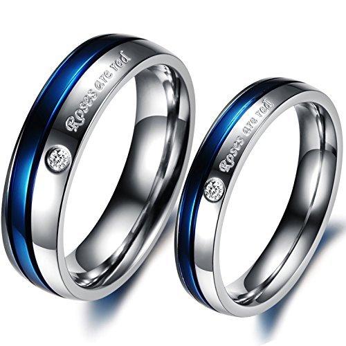 Partnerringe schwarz edelstahl  JewelryWe Schmuck 1 Paar Edelstahl