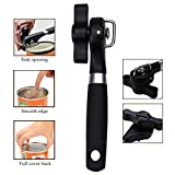 Yoption Can Opener, Restaurant Manual Can Jar Opener, Stainless Steel Ergonomic Anti Slip Can Opener with Good Soft Grips Handle, Black