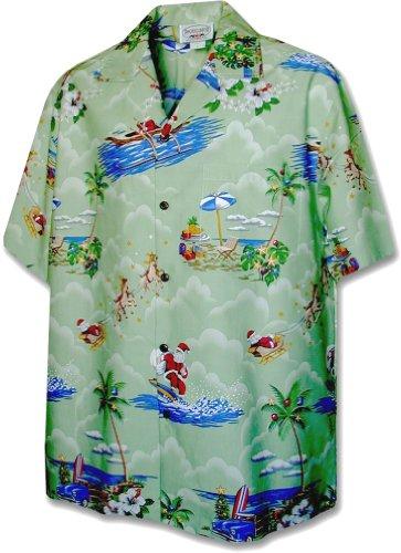 Pacific Legend Christmas Santa Claus Hawaiian Shirt (XL, Green)