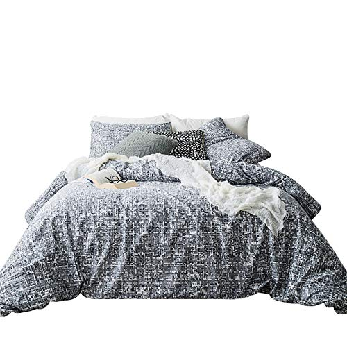 SUSYBAO 3 Piece Duvet Cover Set 100% Natural Cotton King Size Grey Abstract Geometric Bedding Set 1 Gray Mosaic Duvet Cover with Zipper Ties 2 Pillowcases Luxury Quality Soft Comfortable Durable ()