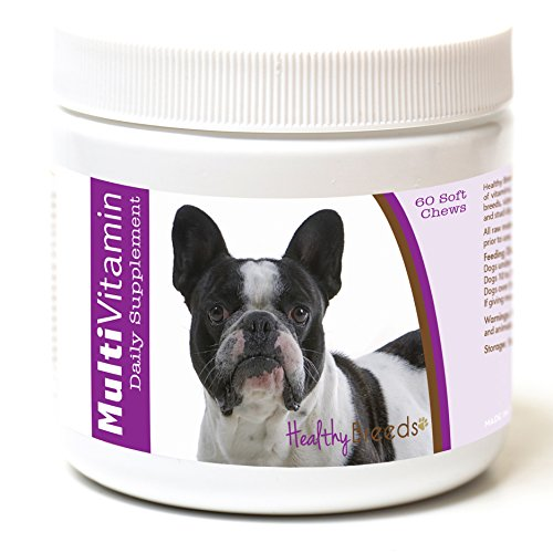 Healthy Breeds Dog Daily Vitamins Soft Chews for French Bulldog - Over 200 Breeds - for Small Medium & Large Breeds - Easier Than Liquid or Powders - 60 Chews
