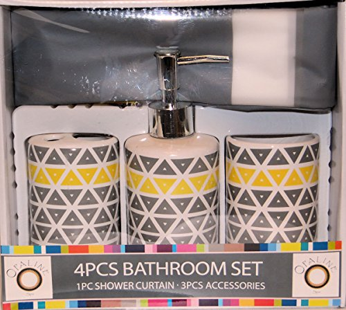Grey Yellow Triangles Design 4 Piece Ceramic Bath Ensemble with, Shower Curtain, Lotion Dispenser, Toothbrush Holder & Tumbler (Lotion Triangle Soap)