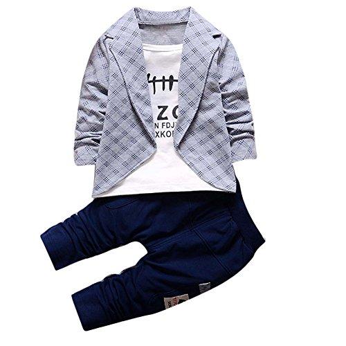 JIANLANPTT Fashion Plaid Boys Casual 2 Pcs Set Baby Kids Children Birthday Party Wear Suit Grey 12-24months (Plaid Cotton Suit)