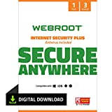 Webroot Internet Security Plus with Antivirus Protection - 2019 Software  | 3 Device | 1 Year Subscription | PC Download