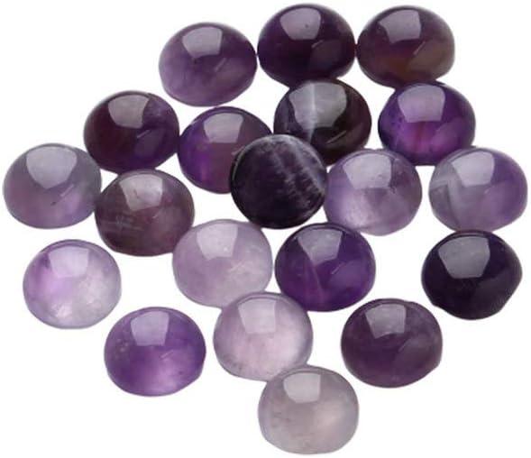 SUPVOX 20 piezas cabujones de media caña con media vuelta naturales naturales cuentas amatista piedras preciosas semipreciosas cúpulas camafeos para hacer joyas 12 mm