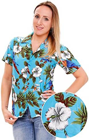Funky Hawaiian Blouse Women Short-Sleeve Front-Pocket Cherry Parrot Multiple Colors