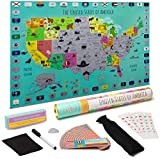 Kids USA Scratch Off Map Poster for Travel | Durable Plastic Kids Map | National Parks, Flags | Educational Landmark Cards, Stickers, Foil, Pick | Writable Surface, Marker | Gift-Ready Packaging
