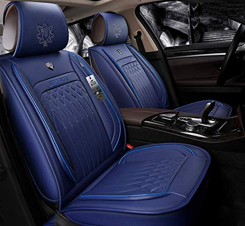 AYCYNI Easy To Clean PU Leather Car Seat Cushions 5 Seats Full Set - Anti-Slip Suede Backing Universal Fit Covers Adjustable Bench for 99% Types of Cars,Blue,Blue: Kitchen & Home