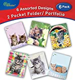 New Generation - Kitten - 2 Pocket Folders / Portfolio 6 PACK Letter Size with 3 Hole Punch to use with your Binder Heavy Duty Glossy Finish UV Laminated Folder - Assorted 6 Fashion Design (6 PACK)