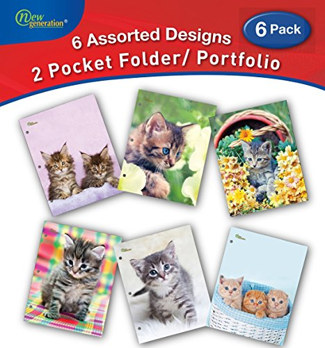 - New Generation - Kitten - 2 Pocket Folders/Portfolio 6 Pack Letter Size with 3 Hole Punch to use with Your Binder Heavy Duty Glossy Finish UV Laminated Folder - Assorted 6 Fashion Design (6 Pack)