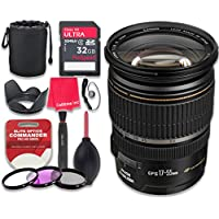 Canon EF-S 17–55mm f/2.8 IS USM Lens with 32GB Ultra Pro Speed Class 10 SDHC Memory Card + 3pc Filter Kit (UV-FLD-CPL) + Deluxe Sleeve + Celltime Microfiber Cleaning Cloth - International Version