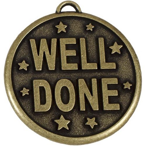 Stars Medal Trophys Trophies (50mm Elation Star Well Done Medal Gold with Ribbon and Gift Box with Free Engraving up to 30 Letters on Gift Box. AM888G by Trophy)