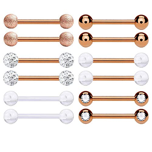 BodyJ4You 12PC Nipple Rings Tongue Barbells 14G Women Rose Goldtone CZ Crystal Piercing Jewelry Set