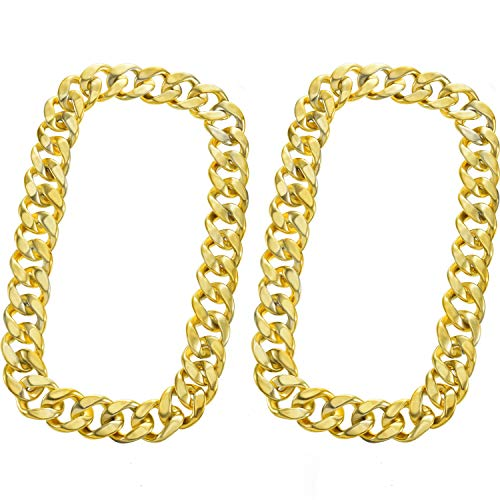 Hip Hop Kids Costume (meekoo 2 Pieces Faux Gold Chain Acrylic Chain Necklace Hip Hop Necklace Rapper Fake Gold Chain for Hip-Hop Artist or Band Member Costume Accessory, 31.5)