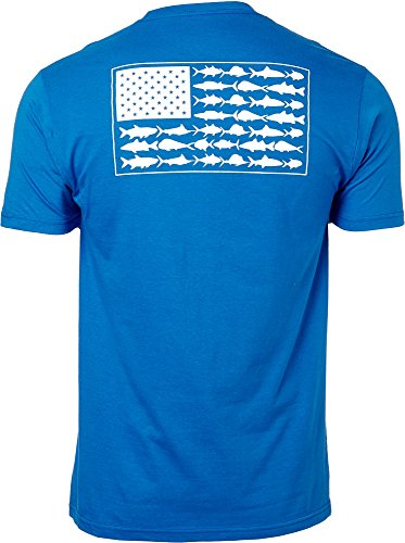 Columbia PFG Americana Saltwater Fish Flag Short Sleeve Cotton T-Shirt Tee(Vivid Blue/XX-Large) from Columbia