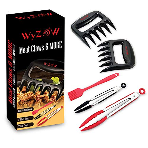 Meat Shredder Claws for Pulled Pork BBQ, Set Includes – Bear Claw Forks – Stainless Steel Food Tongs With Silicone Tips 7 and 9 – Red Basting Brush – MEAT CLAWS MORE by WyZoW