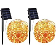 #LightningDeal 79% claimed: AMIR Solar Powered String Lights, 100 LED Copper Wire Lights, Waterproof Starry String Lights, Indoor/Outdoor Solar Decoration Lights for Gardens, Patios, Homes, Parties (Warm White - Pack of 2)