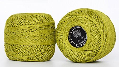 LE PAON Size 8 50g Pearl Mercerized Cotton Crochet thread, Knitting yarn Tatting Yarn Embroidery Balls for Crochet Hardanger Cross Stitch friendship bracelets total 1000yards 2 Balls (Color No.:166
