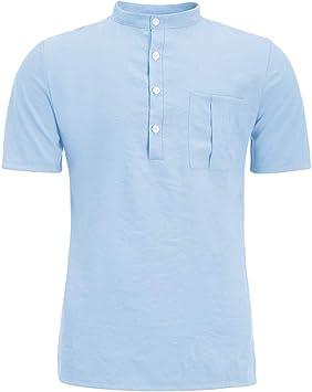 Camiseta de Lino para Hombre, Camisa de Lino de Manga Corta de Color Liso, Regular fit clásico Trabajo Camisas de Verano Casual Camisas de Playa Tallas Fuertes S-6XL Azul Turquesa M: Amazon.es: