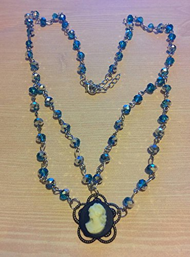 Blue Crystal Cameo Necklace