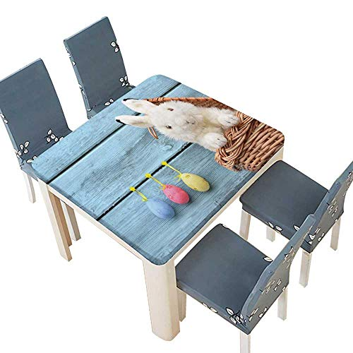 lecloth Happy Easter Bunny in a Basket Eggs on a Blue Wooden Easy Care Spillproof 65 x 65 INCH (Elastic Edge) ()