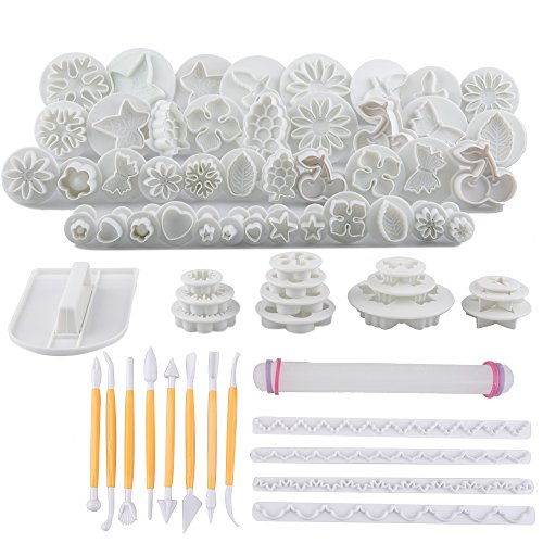 Tebery 21 Sets/ 68pcs Cake Decoration Tool Kit, Homemade Modeling Tools For Fondant Cake Cookie Cutter Mold Sugarcraft Icing Decorating