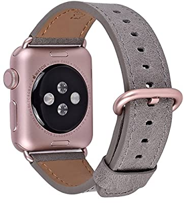 JSGJMY Apple Watch Band 42mm Men Women Grey Vintage Genuine Leather Loop Replacement Wrist Strap with Rose Gold Metal Clasp for Iwatch Series 3 2 1 Edition Sport