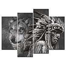 SmartWallArt - Animal Paintings Wall Art Wolf and Indian Man Tattoo Design Over Grey Background Textured Backdrop 4 Panel Picture Print on Canvas for Modern Home Decoration