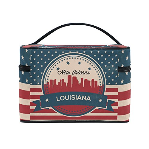 Vintage American Flag Louisiana State New Orleans Skyline Cosmetic Bags Travel Makeup Toiletry Organizer Case ()