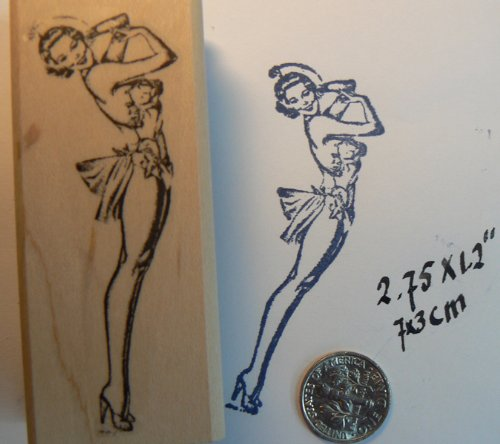 Vintage style pin up girl rubber stamp WM P37