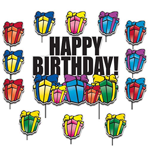 VictoryStore Yard Sign Outdoor Lawn Decorations: Birthday Yard Cards - Happy Birthday Greetings w/Presents Yard Decoration Includes Stakes