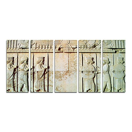 Persian Decorative Arts (CyiArt - 5 Panels Wall Art Persepolis - Persian soldiers Statue Modern Home Decorative Painting Canvas Print Picture Vintage Poster Wall For Home Decor (49