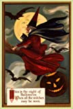 WITCH FLYING BROOM MOON HALLOWEEN BLACK CAT PUMPKIN VINTAGE POSTER REPRO