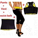 Full Body Slimming Shaper 3 Pc Set - Vest, Waist Belt, and Pants - Shaping Neotex Trimmer for Weight Loss - Detox thermo Sweat Neoprene Shaper