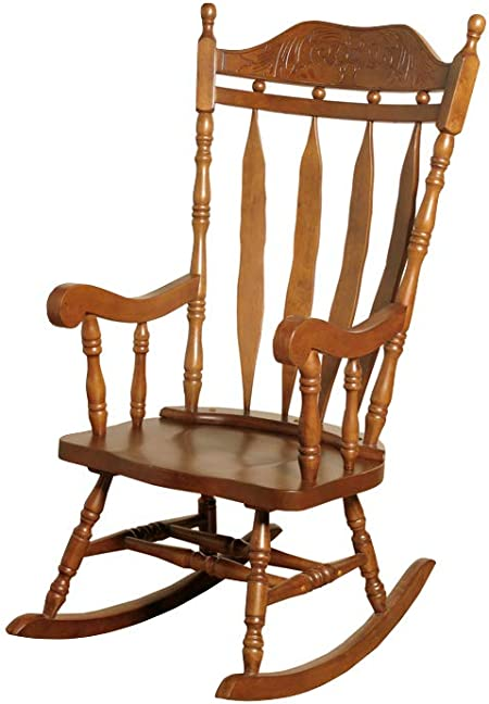The One Jay Traditional Solid Wood Carved Rocking Chair Finish : Oak Living Room Conservatory Nursery Furniture