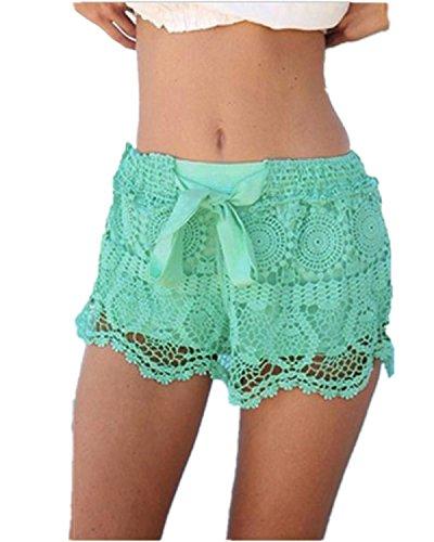 ZANZEA Womens Girls Lace Hem Crochet Chiffon Belt Beach Shorts Pants US 4 Green