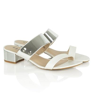 15a4e138a79 Daniel Potatas White Leather Low Heel Mule Sandals White Leather 41 ...