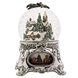 MusicBox Kingdom 56058-Snow Globe ''Winter Village'' with The Melody ''Winter Wonderland''