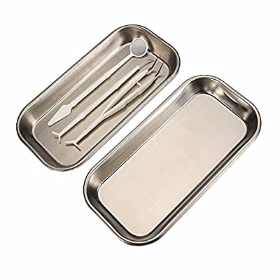MAXGOODS 2 Pack Stainless Steel Tray,Square Tattoo Medical Dental Surgical Tool Lab Instrument Piercing Lab Instrument Supplies Tray,8.8x4.5x0.78in